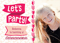 Let's Party Birthday Party Invitations Flat Cards - Front