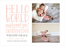 Nice To Meet You Pink Birth Announcements Flat Cards - Front