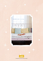 Over The Moon Pink Birth Announcements Flat Cards - Back