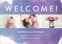 Photo Strip Welcome Birth Announcements Flat Cards - Front