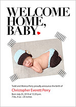 Welcome Home Baby Birth Announcements Flat Cards - Front