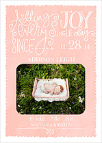 Wonderful Welcome Pink Birth Announcements Flat Cards - Front