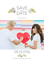Bouquet Date Gray Save the Date Flat Cards - Front