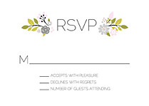 Bouquet RSVP Gray RSVP Flat Cards - Front