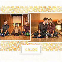 Damask Frame Date Square Save the Date Flat Cards - Back