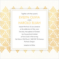 Damask Frame Invitation Square Wedding Invites Flat Cards - Front