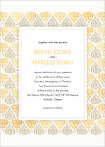 Damask Frame Sand And Gold Invitation Wedding Invites Flat Cards - Front