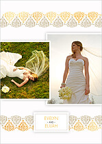 Damask Frame Sand And Gold Thank You Thank You Flat Cards - Back
