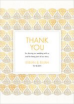 Damask Frame Sand And Gold Thank You Thank You Flat Cards - Front