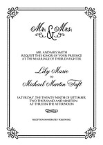 Gatsby Invitation Black Wedding Invites Flat Cards - Front
