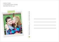 Postcard Date Green Save the Date Flat Cards - Back