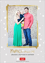 Beaming Blessings Gold Christmas Flat Cards - Back
