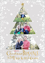 Beaming Blessings Gold Christmas Flat Cards - Front
