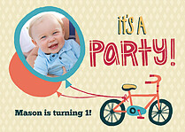 Bicycle Bonanza Birthday Party Invitations Flat Cards - Front