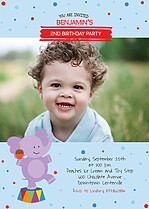 Circus Celebration Birthday Party Invitations Flat Cards - Front