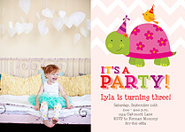 Cute Critters Birthday Party Invitations Flat Cards - Front