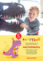 Dino Party Birthday Party Invitations Flat Cards - Front