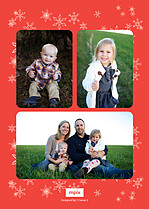 Spitting Snow Red Overlay Christmas Flat Cards - Back