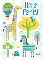 Splendid Safari Birthday Party Invitations Flat Cards - Front