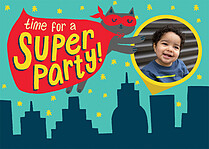 City Skyline Birthday Party Invitations Flat Cards - Front