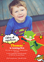 Super Shindig Boy Birthday Party Invitations Flat Cards - Front