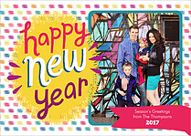 Bottle Rocket Boom New Year Flat Cards - Front