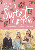 Cherry Charm Christmas Flat Cards - Front