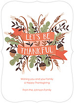 Lets Be Thankful Ornate Thanksgiving Flat Cards - Front