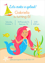 Mermaid Magic Birthday Party Invitations Flat Cards - Front