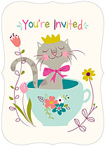 Smitten Kitten Birthday Party Invitations Flat Cards - Front