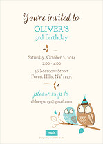 Woodlands Blue Birthday Party Invitations Flat Cards - Back
