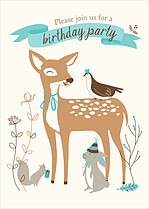 Woodlands Blue Birthday Party Invitations Flat Cards - Front