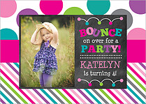 Bounce House Pink Birthday Party Invitations Flat Cards - Front