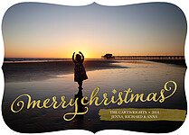 Glam Greeting Ornate Christmas Flat Cards - Front