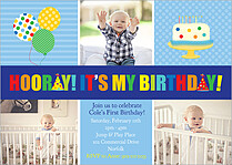 Hooray Day Blue Birthday Party Invitations Flat Cards - Front