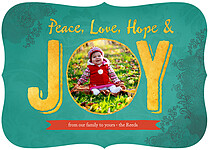 Hope And Joy Teal Ornate Holiday Flat Cards - Front