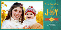 Hope And Joy Teal Photo Card Holiday Photo Cards - Horizontal