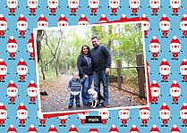 Santa Shuffle Blue Christmas Flat Cards - Back