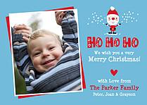 Santa Shuffle Blue Christmas Flat Cards - Front