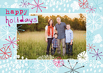 Snowflake Blast Holiday Flat Cards - Front
