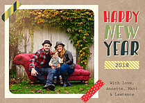 Square One New Year Flat Cards - Front