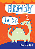 Bronto Bash Birthday Party Invitations Flat Cards - Front