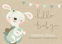 Bunny Bundle Birth Announcements Flat Cards - Front
