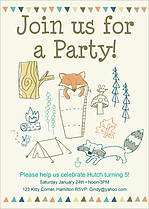 Campout Party Birthday Party Invitations Flat Cards - Front