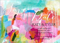 Colorful Palette Date Save the Date Flat Cards - Front