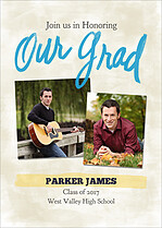 Enduring Ambition Cobalt Graduation Flat Cards - Front