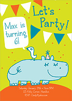 Hippo Hooray Birthday Party Invitations Flat Cards - Front