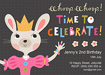 Hoppy Birthday Birthday Party Invitations Flat Cards - Front