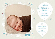 Little Trunks Birth Announcements Flat Cards - Back