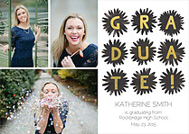 Pom Squad Graduation Foil Pressed Cards - Front